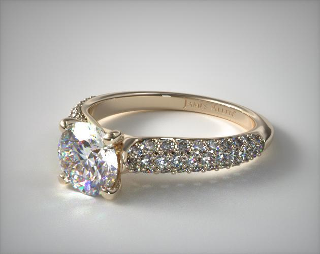 14K Yellow Gold Graduated Triple Row Pave Engagement Ring