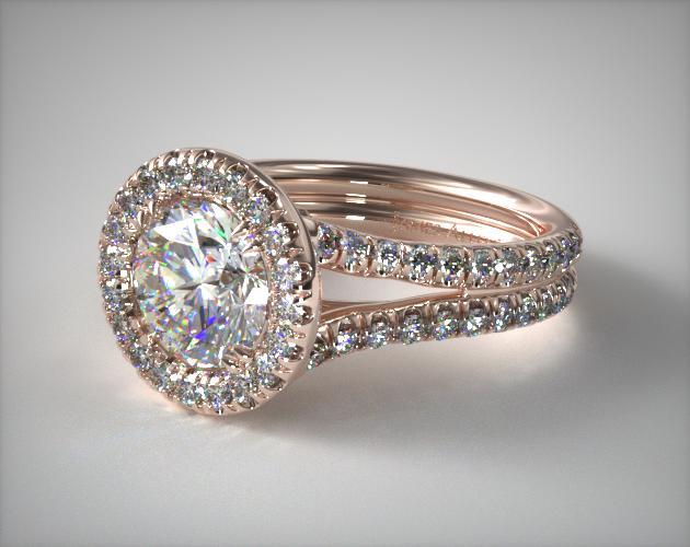 Double Shank Pave Halo Engagement Ring
