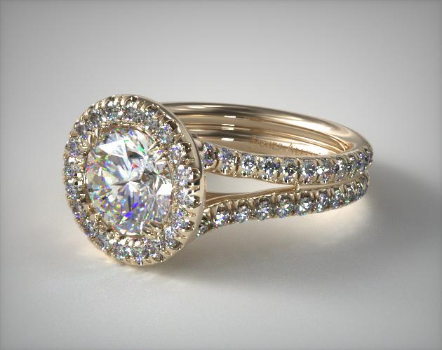 18K Yellow Gold Double Shank Pave Halo Engagement Ring