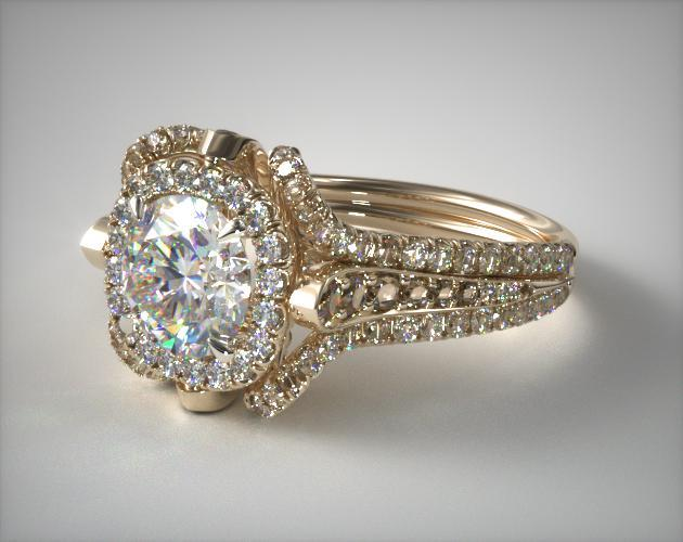 18K Yellow Gold Floral Embellished Pave Halo Engagement Ring