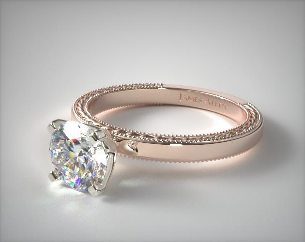 14K Rose Gold Etched Profile Solitaire Engagement Ring