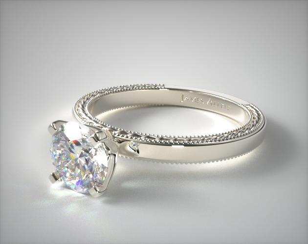 Platinum Etched Profile Solitaire Engagement Ring