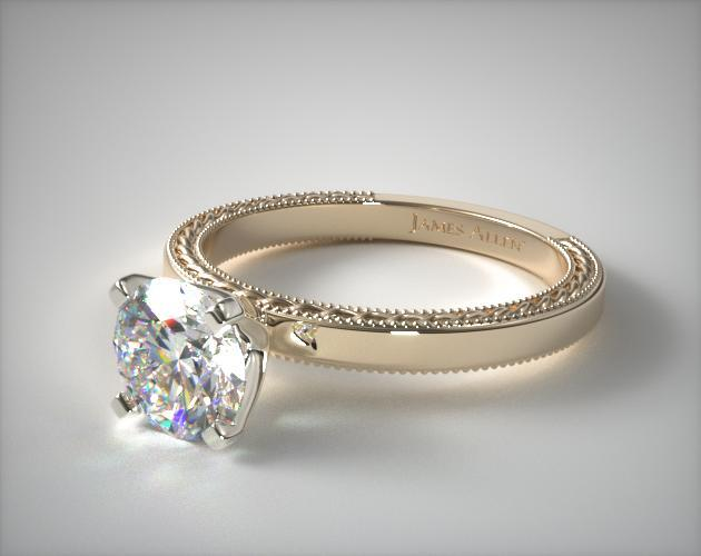 18K Yellow Gold Etched Profile Solitaire Engagement Ring
