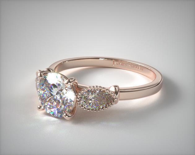 14K Rose Gold Vintage Fluted Pear Engagement Ring