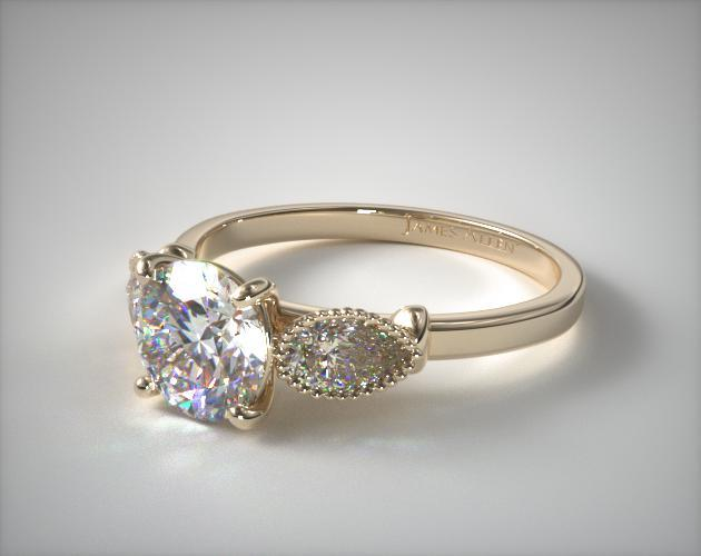 14K Yellow Gold Vintage Fluted Pear Engagement Ring