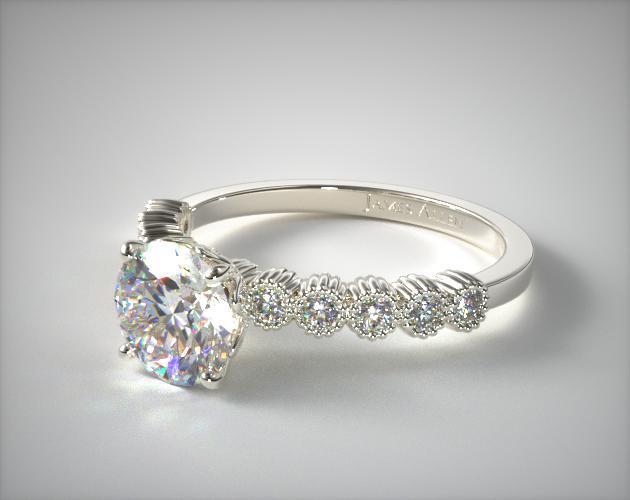 Platinum Lotus Flower Diamond Engagement Ring