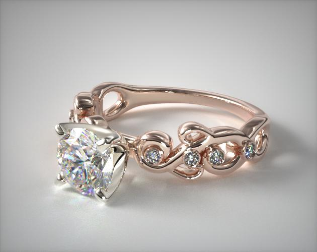 14K Rose Gold Blossoming Vine Diamond Engagement Ring