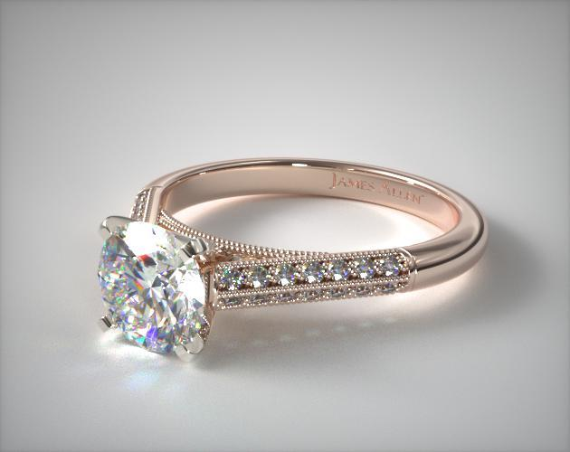 14K Rose Gold Pavé Knife Edge Cathedral Diamond Engagement Ring