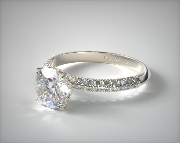 18K White Gold Pave Knife Edge Lotus Basket Engagement Ring