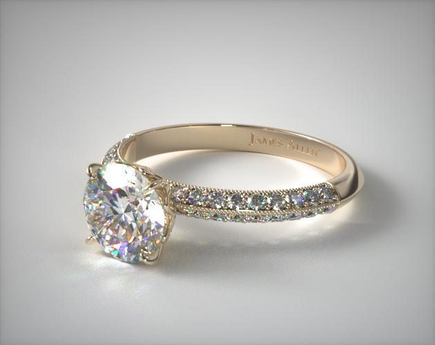 14K Yellow Gold Pave Knife Edge Lotus Basket Engagement Ring
