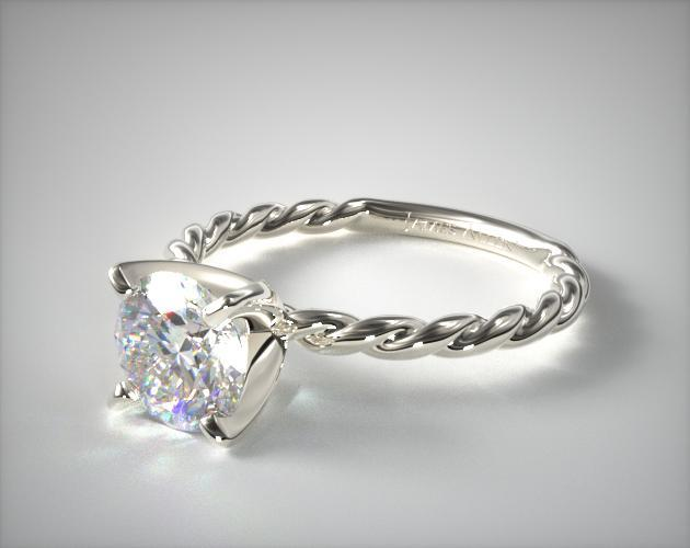 Platinum Cable Solitaire Engagement Ring