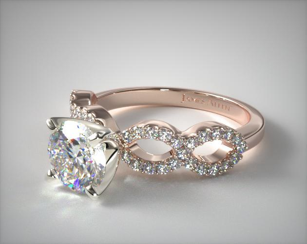 Pave Infinity Diamond Engagement Ring 14K Rose Gold