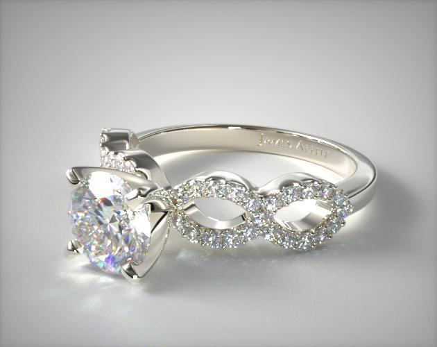 18K White Gold Pave Infinity Diamond Engagement Ring