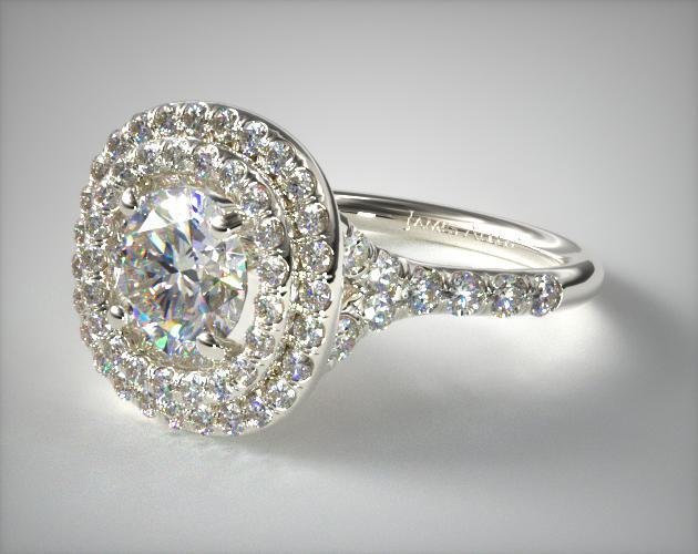 Platinum Diamond Split Shank Double Halo Pave Engagement Ring