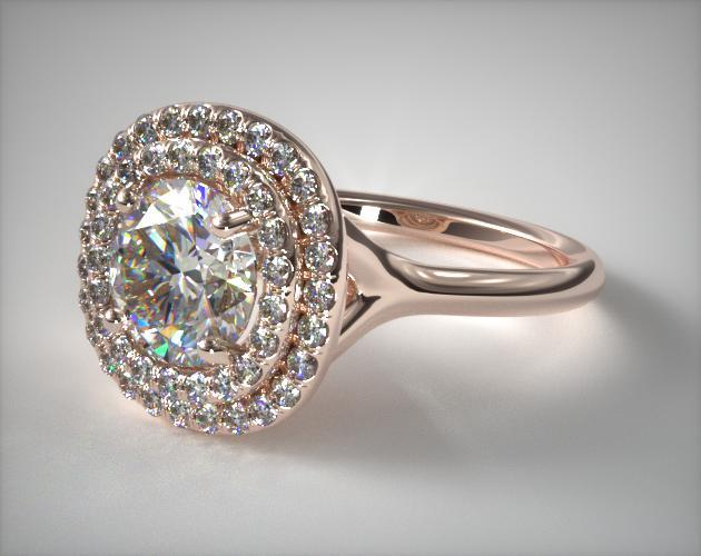 Split Shank Double Halo Pave Engagement Ring