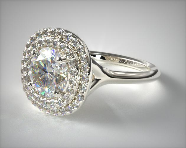 Platinum Split Shank Double Halo Pave Engagement Ring