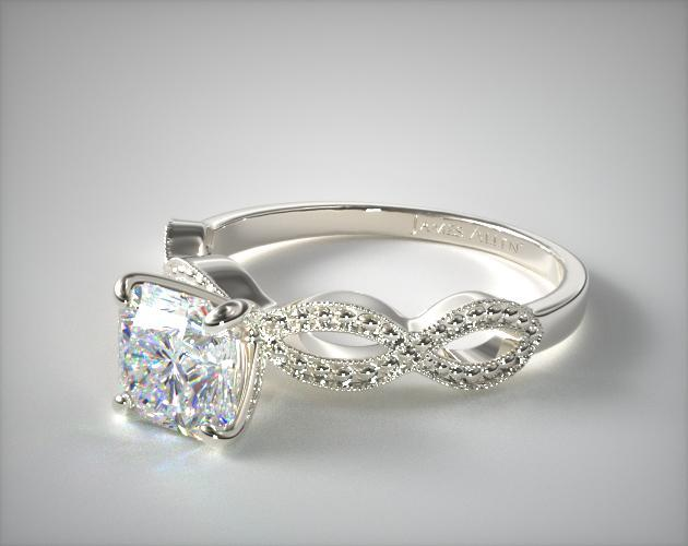 14K White Gold Vintage Infinity Engagement Ring