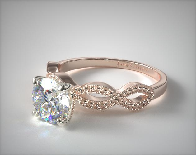 Vintage Infinity Engagement Ring 14K Rose Gold