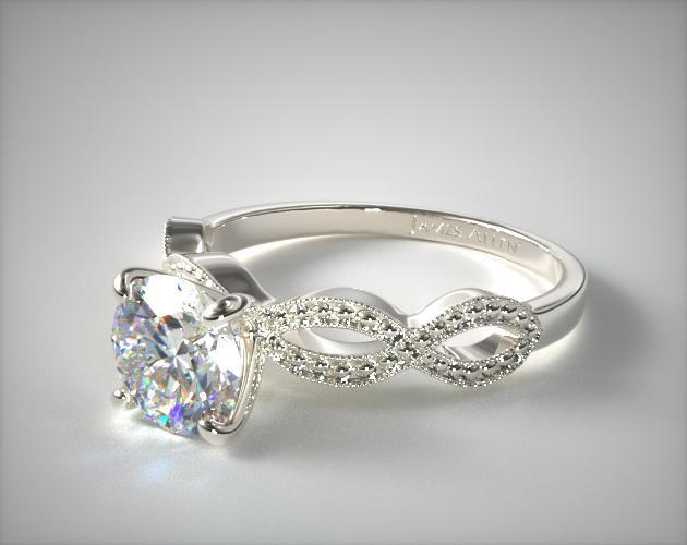 Vintage engagement ring  Vintage Infinity Engagement Ring | 14K White Gold | 17985W14