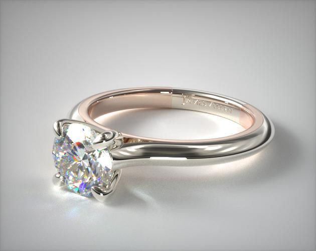 14K Gold Two-Tone 2.0mm Comfort-Fit Cathedral Solitaire Engagement Ring