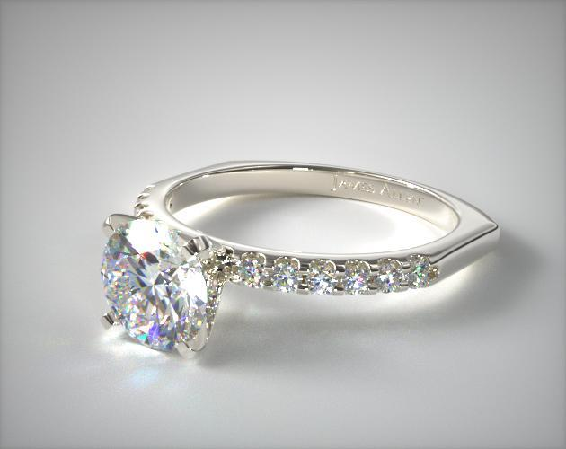 14K White Gold Perfect Fit 2mm Common Prong Diamond Engagement Ring