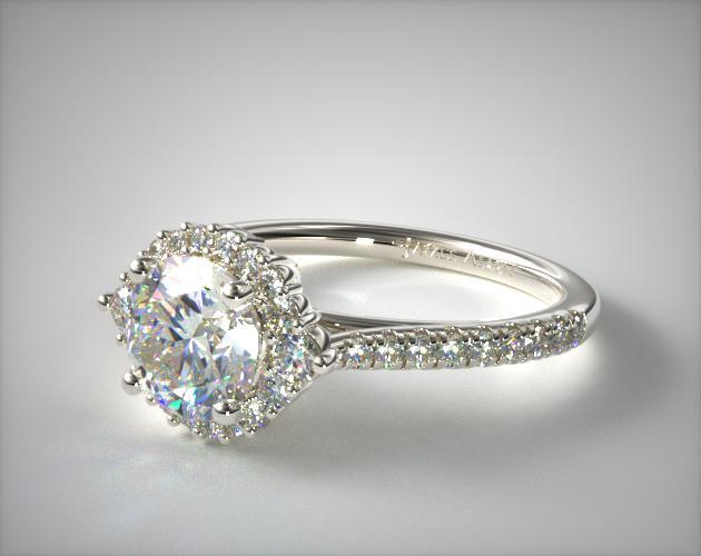 14K White Gold Cathedral Pave Halo Diamond Engagement Ring