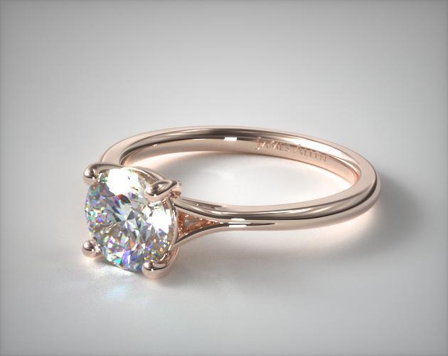 14K Rose Gold Classic Split Shank Solitaire Diamond Engagement Ring