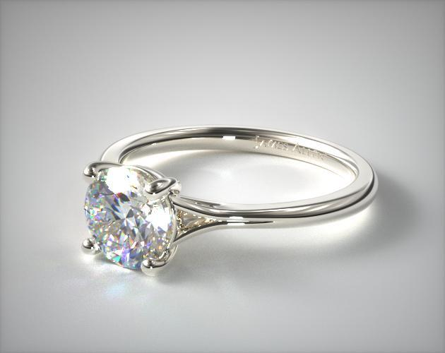 14K White Gold Classic Split Shank Solitaire Diamond Engagement Ring