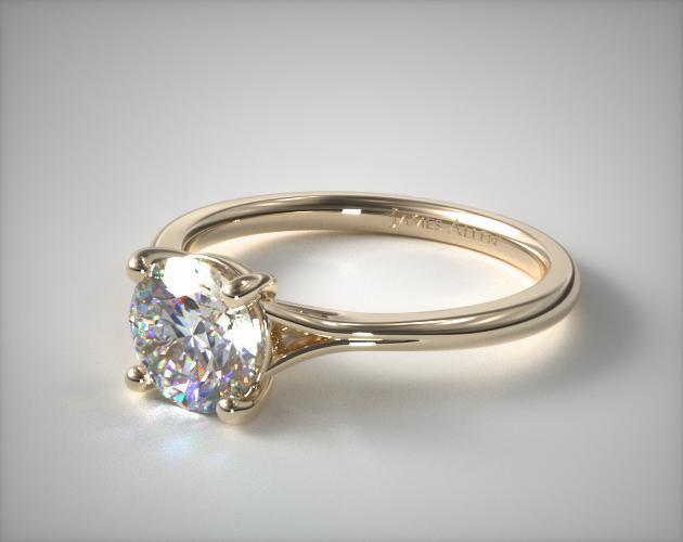 18K Yellow Gold Classic Split Shank Solitaire Diamond Engagement Ring