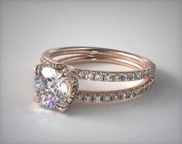 14K Rose Gold Pavé Split Shank Contour Diamond Engagement Ring