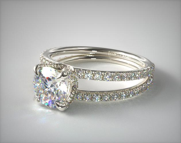 14K White Gold Pave Split Shank Contour Diamond Engagement Ring