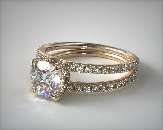 14K Yellow Gold Pavé Split Shank Contour Diamond Engagement Ring