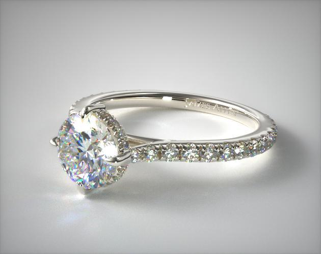 14K White Gold Cathedral Pave Crown Diamond Engagement Ring