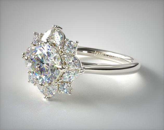 18K White Gold Marquise Cluster Halo Diamond Engagement Ring