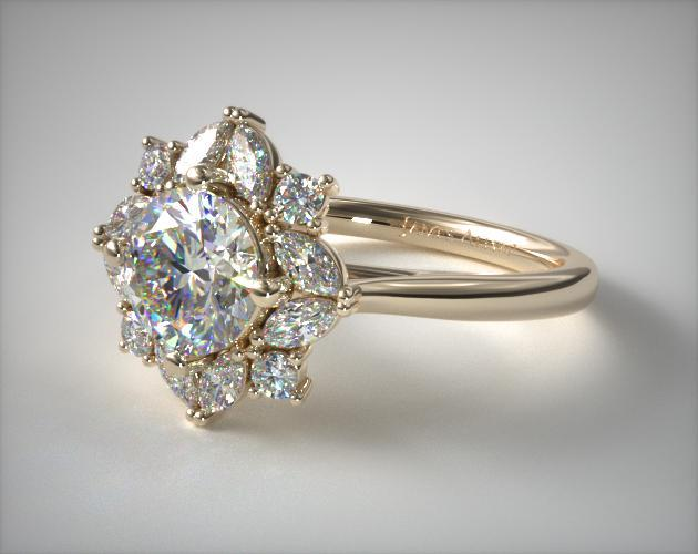 14K Yellow Gold Marquise Cluster Halo Diamond Engagement Ring