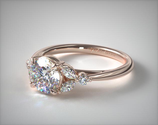 14K Rose Gold Laurel Leaves Diamond Engagement Ring