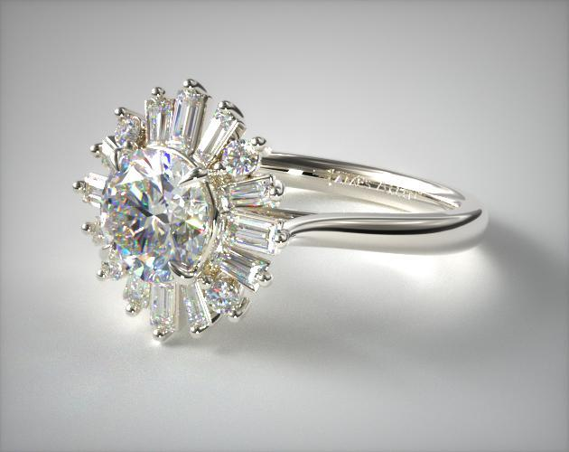 14K White Gold Baguette Ballerina Halo Diamond  Engagement Ring