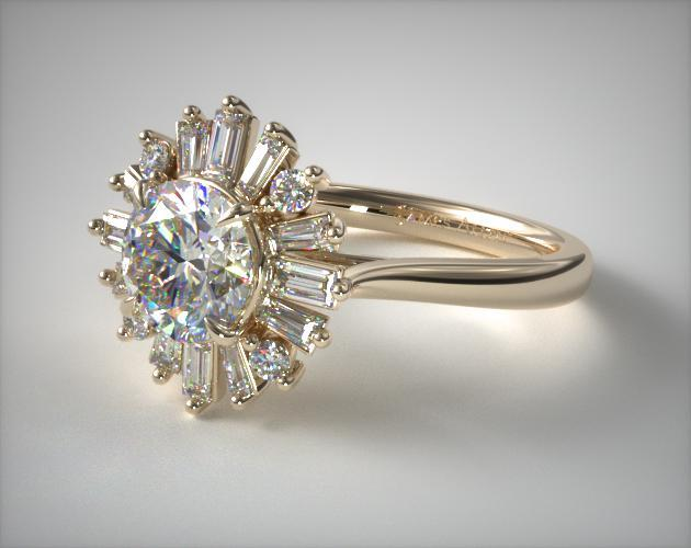 14K Yellow Gold Baguette Ballerina Halo Diamond  Engagement Ring