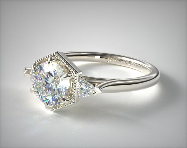 14K White Gold Hexagonal Trilliant Side Stone Diamond Engagement Ring
