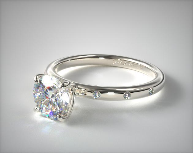 14K White Gold Sleek Accent Diamond Engagement Ring