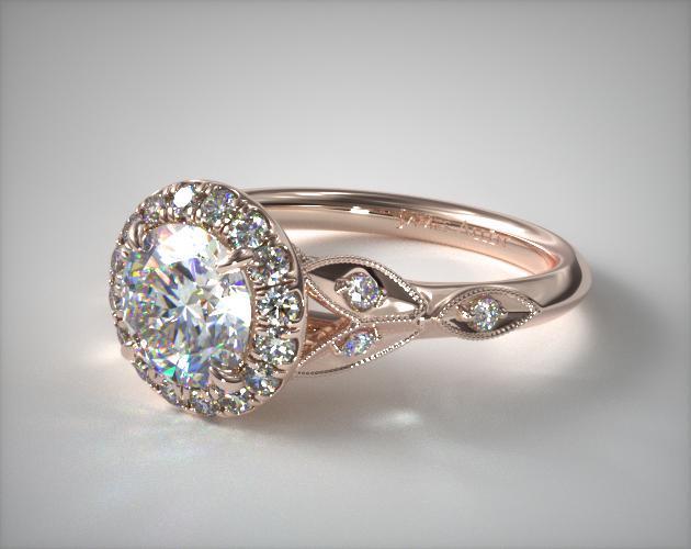14K Rose Gold Navette Leaf Halo Engagement Ring