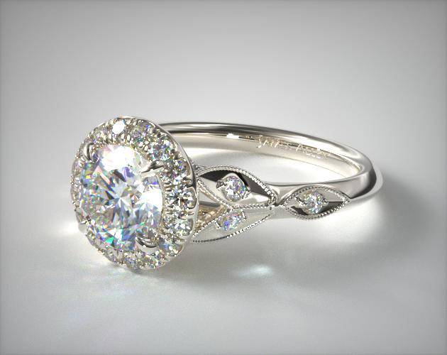 14K White Gold Navette Leaf Halo Engagement Ring