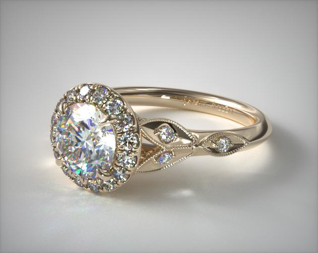 14K Yellow Gold Navette Leaf Halo Engagement Ring