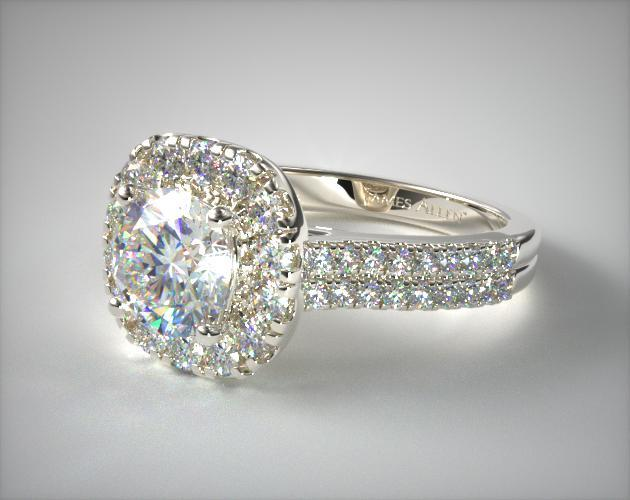 14K White Gold Double Shank Halo Diamond Engagement Ring