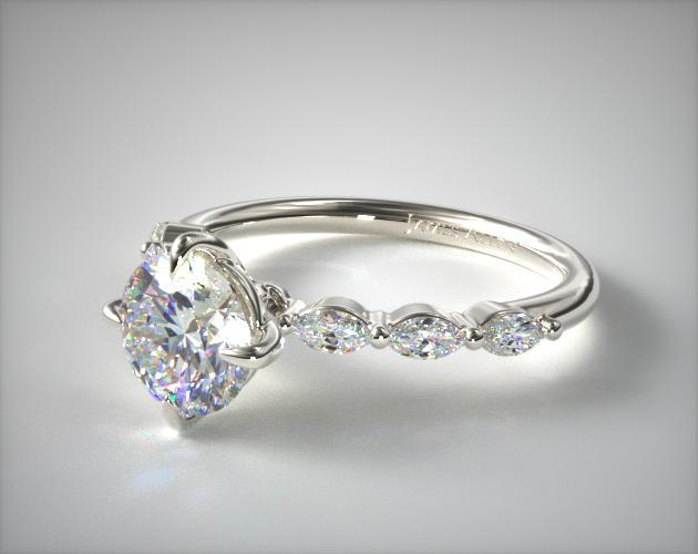 14K White Gold Shared Prong Marquise Side Stone Diamond Engagement Ring