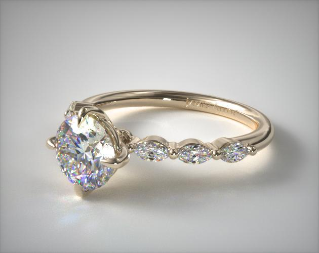 14K Yellow Gold Shared Prong Marquise Side Stone Diamond Engagement Ring