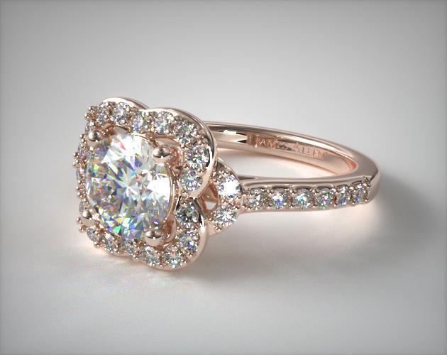 14K Rose Gold Pavé Antique Clover Engagement Ring