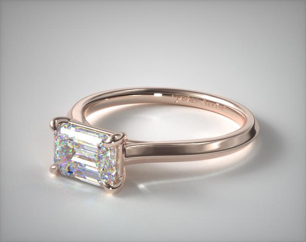 14K Rose Gold East-West Knife Edge Cathedral Solitaire Engagement Ring