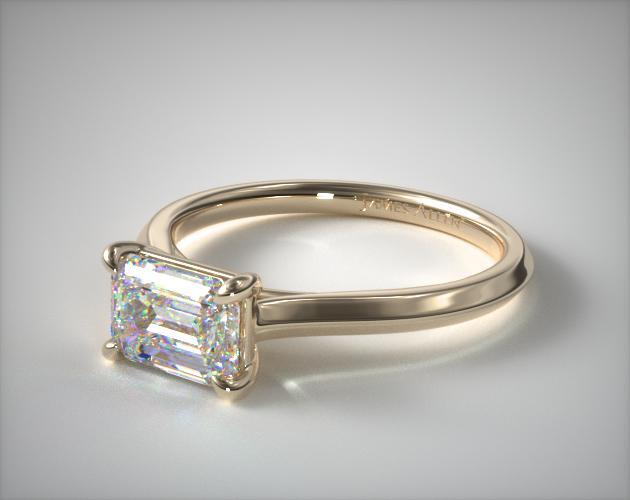 14K Yellow Gold East-West Knife Edge Cathedral Solitaire Engagement Ring