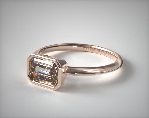 14K Rose Gold East-West Knife Edge Bezel Solitaire Engagement Ring